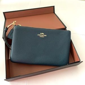 Coach Small Wristlet in Peacock/Gold Style 29952
